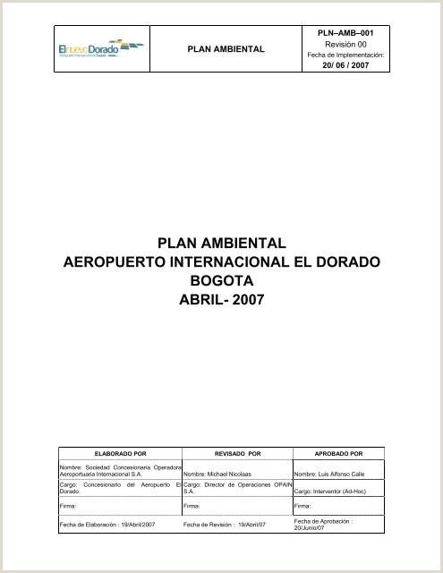plan ambiental aeropuerto internacional el dorado bogota