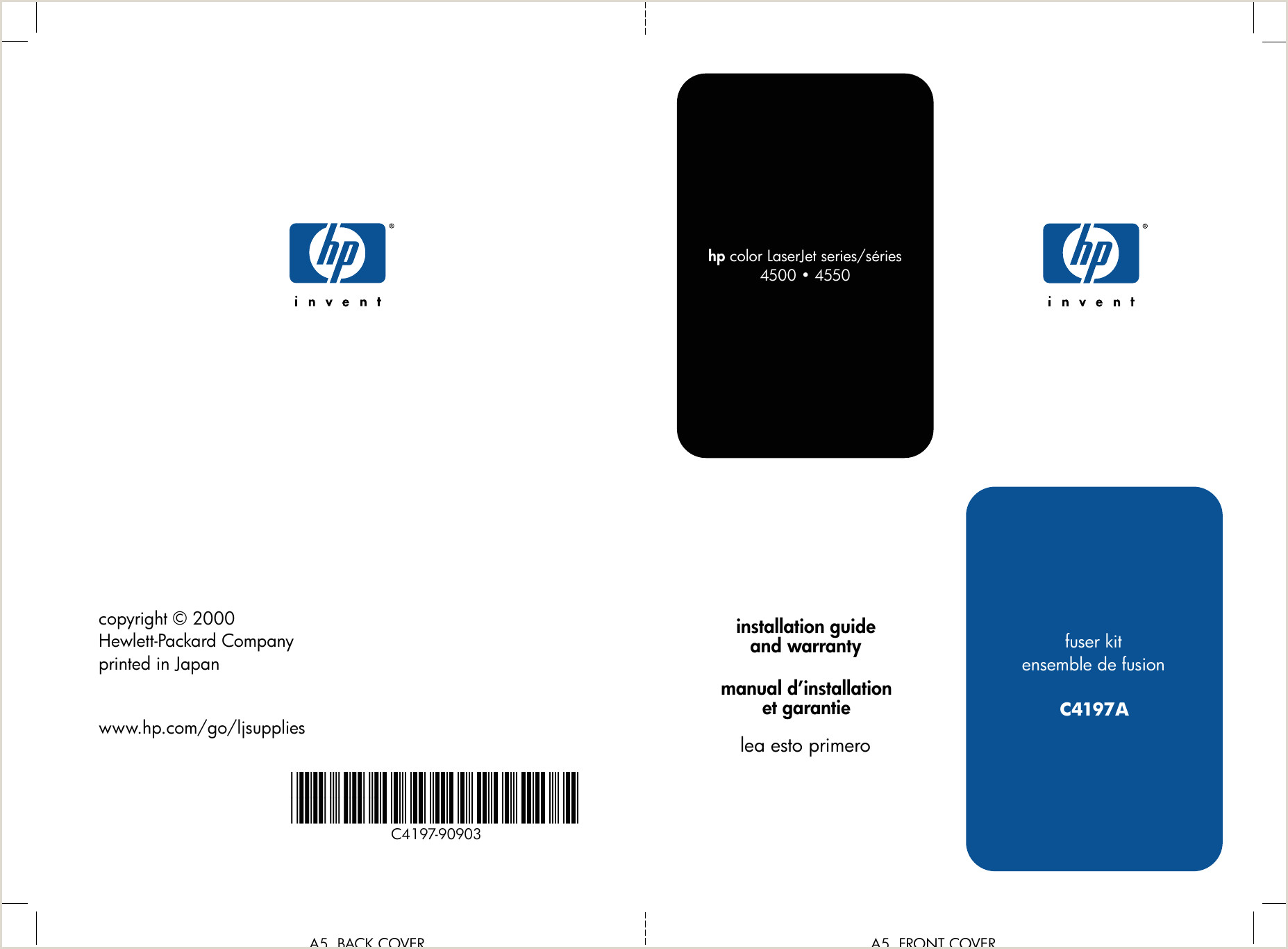 Formato Hoja De Vida Impresora Hp C J Color Laser Jet 4500 and 4550 Printer Families