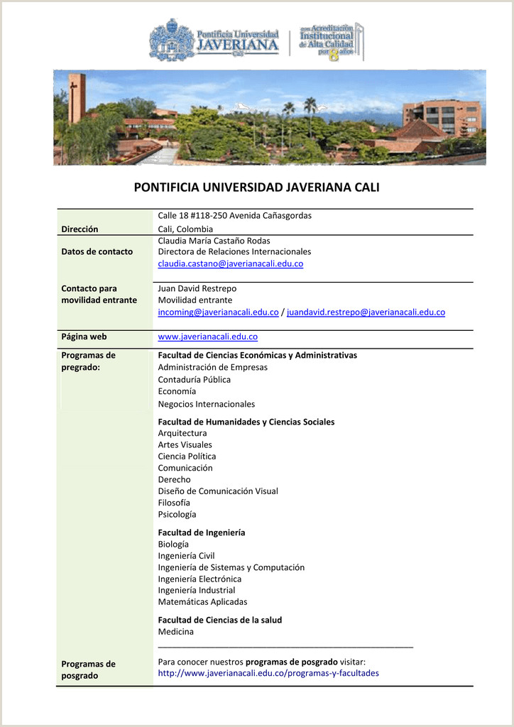 servicios Pontificia Universidad Javeriana Cali