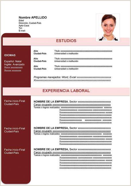 Formato Hoja De Vida Laboral Colombia Ejemplos De Hoja De Vida Modernos En Word Para Descargar
