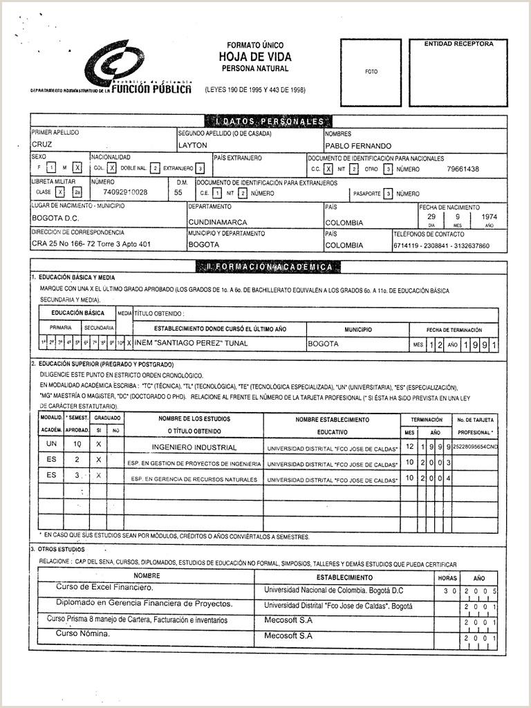 Formato Hoja De Vida Ley 190 Del 95 Descargar Hoja De Vida Ministerio De Educaci³n