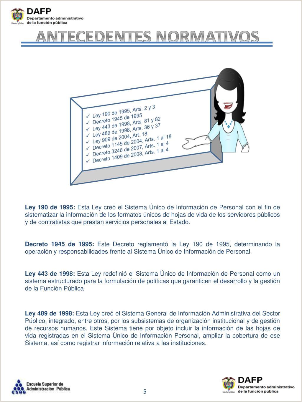 """Formato Hoja De Vida Ley 190 Del 95 Ppt Sistema De Informaci""""n Y Gesti""""n Del Empleo Pšblico"""