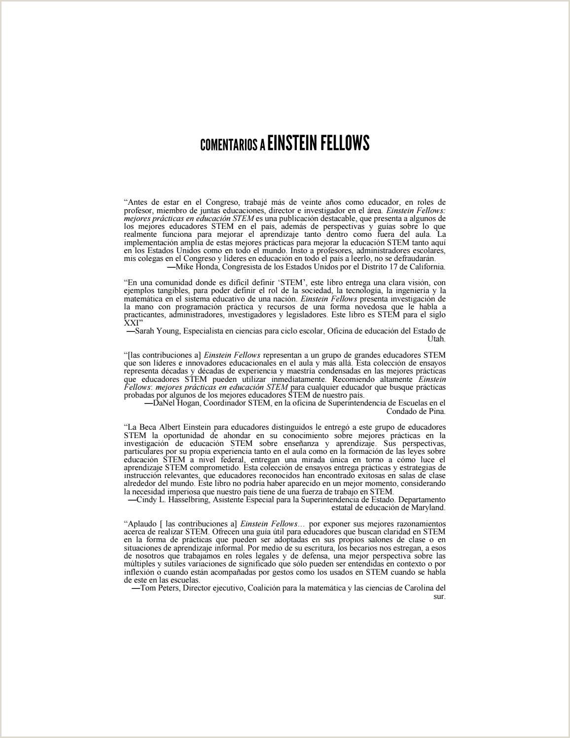 Formato Hoja De Vida Licenciada En Preescolar Einstein Fellows Mejores Prácticas En Educaci³n Stem by