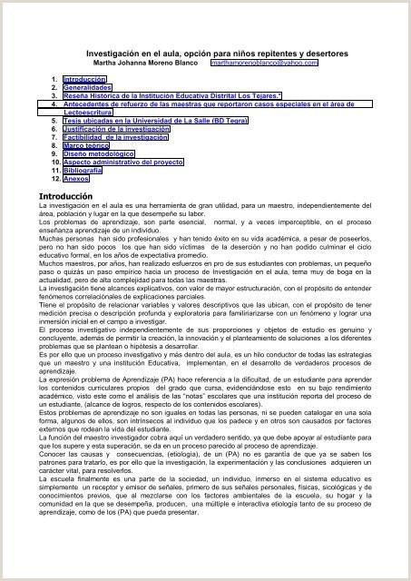 Formato Hoja De Vida Licenciada En Preescolar Investigaci³n En El Aula Opci³n Para Ni±os Repitentes Y