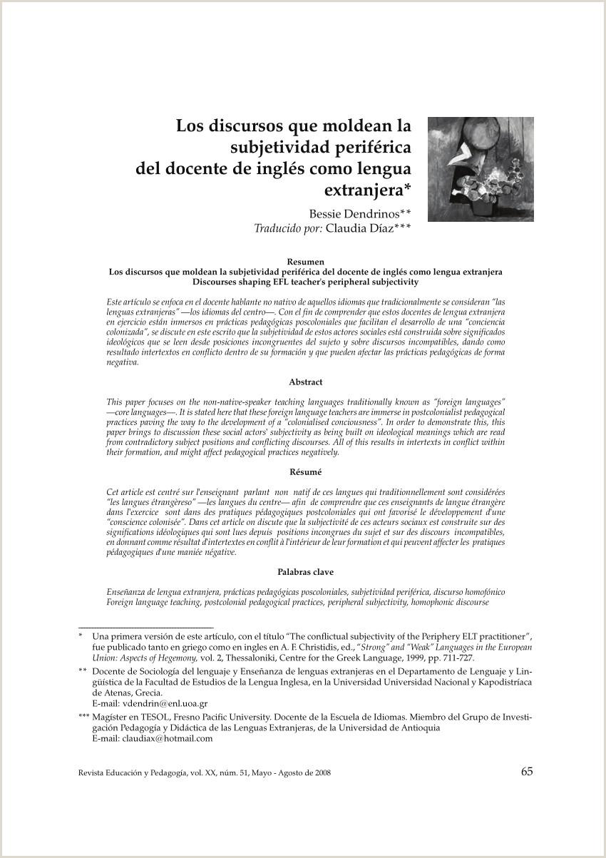 Formato Hoja De Vida Licenciada En Preescolar Pdf Los Discursos Que Moldean La Subjetividad Periférica