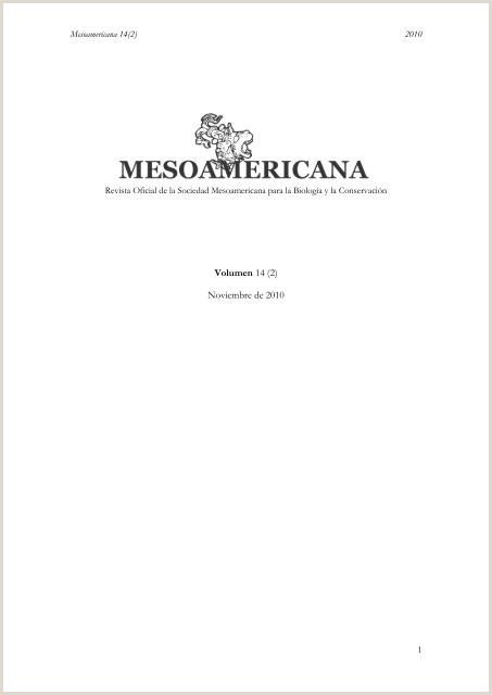 Volumen 14 2 Noviembre de 2010 Sociedad Mesoamericana