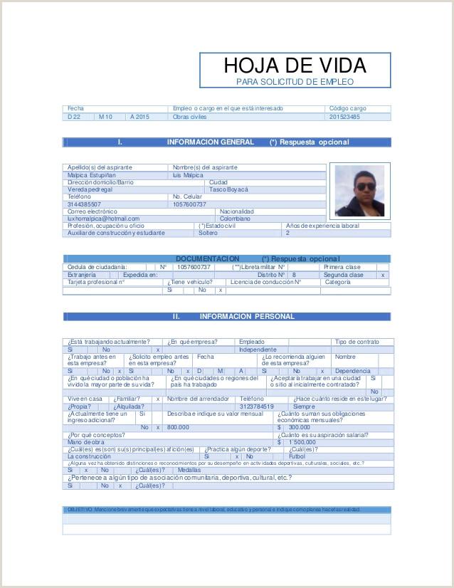 Formato Hoja De Vida Minerva 1003 En Word Para Llenar Hoja De solicitud De Empleo Hoja De Vida Para solicitud De