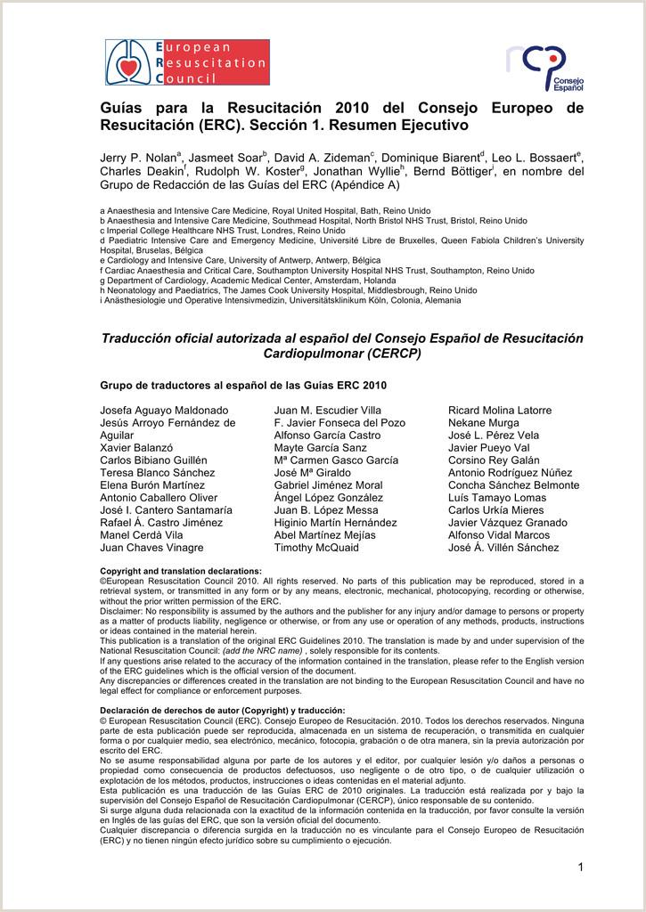Formato Hoja De Vida Nrc Guas Para La Resucitaci³n 2010 Del Consejo Europeo De