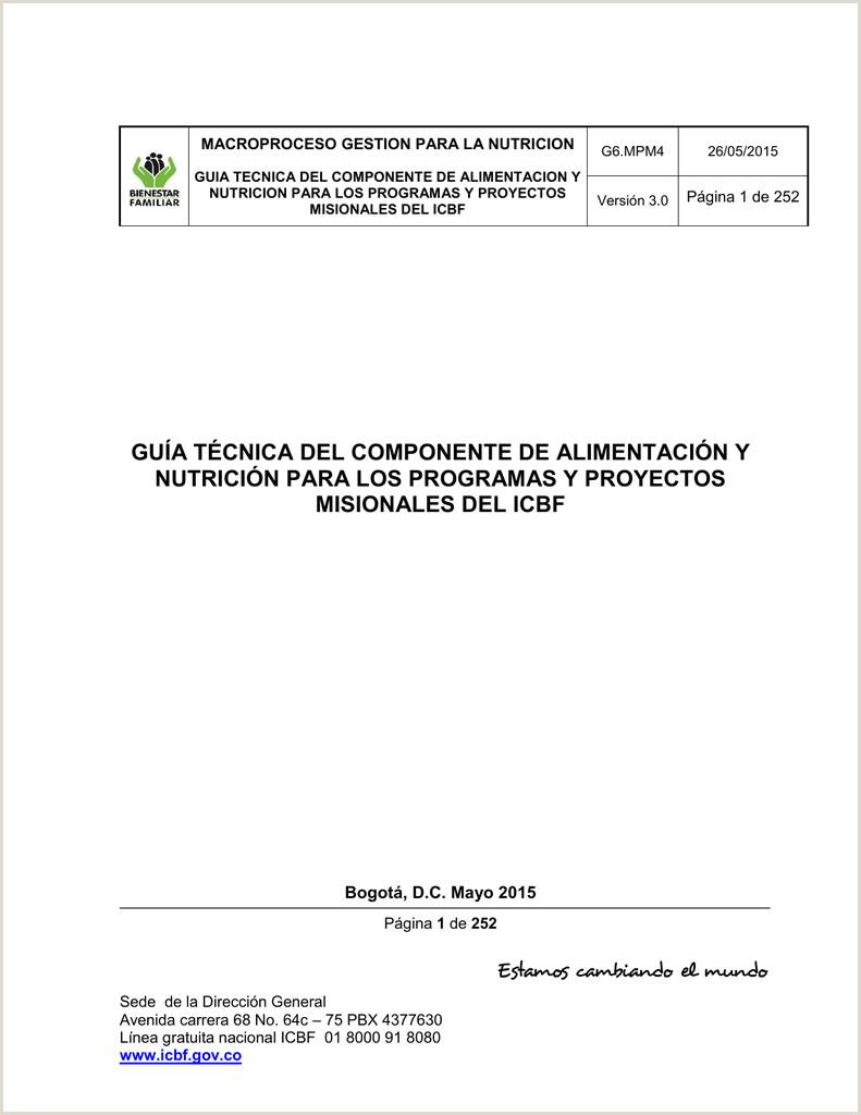 gua técnica del ponente de alimentaci³n y nutrici³n