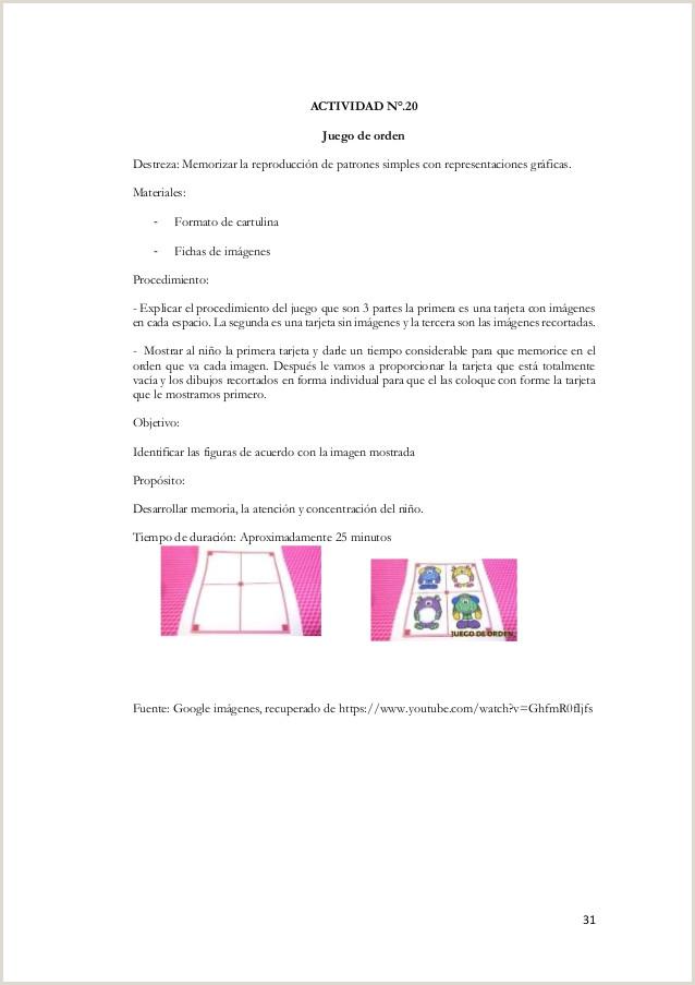 """PROGRAMA DE JUEGOS DE CONCENTRACI""""N EN EL DESARROLLO DE LAS"""