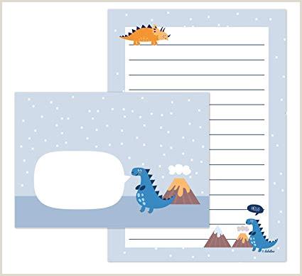 Dinosaurios de Juego de papel de cartas para ni±os 25 hojas de formato DIN A5 a rayas 10 sobres Joven OD Chica Azul Naranja
