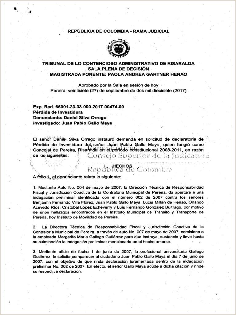 Formato Hoja De Vida Rama Judicial Jueces Rdo 2017 00 Sentencia De Primera Instancia