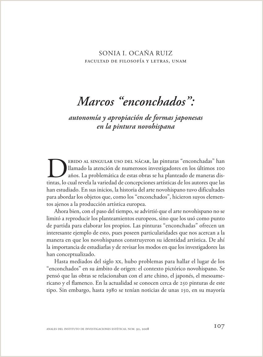 """Formato Hoja De Vida Sencilla En Blanco Minerva Pdf Marcos """"enconchados"""" Autonoma Y Apropiaci³n De formas"""