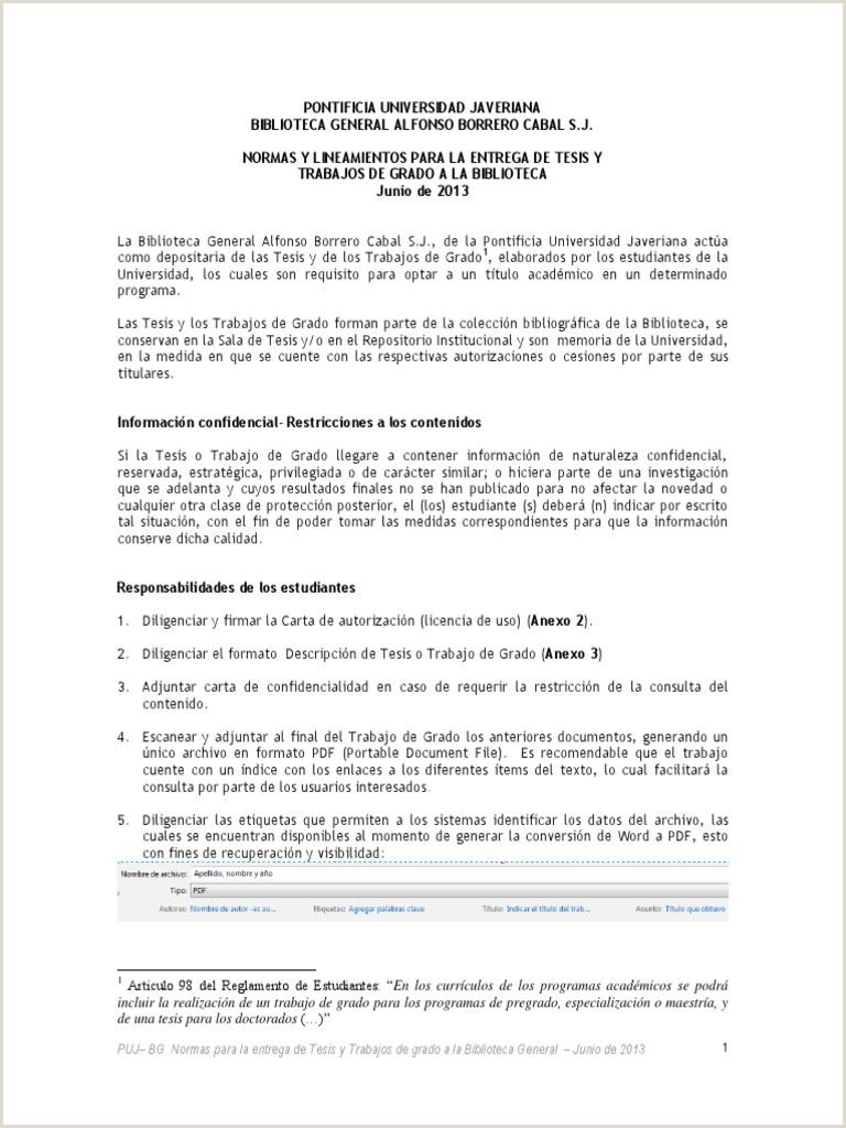 Formato Hoja De Vida Universidad Javeriana normas Entrega Tesis Bibliotecapuj