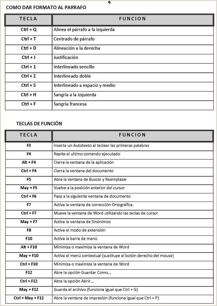 Formato Para Hacer Una Hoja De Vida En Word atajos De Word 2003 2007 Metodologia De Investigacion Con