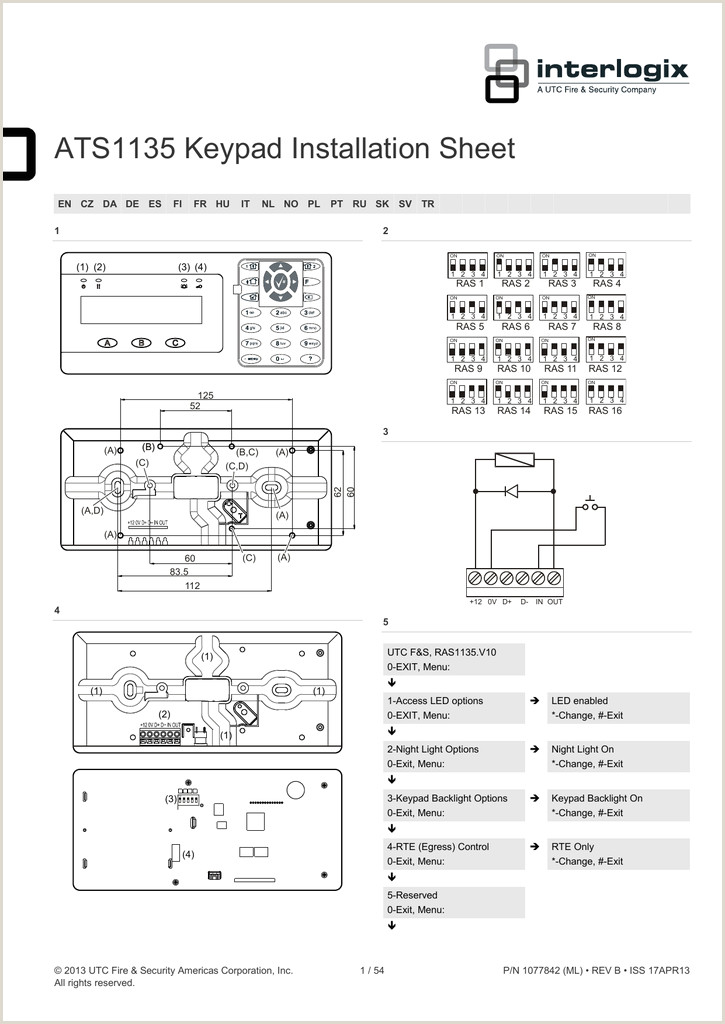 ATS1135 Keypad Installation Sheet