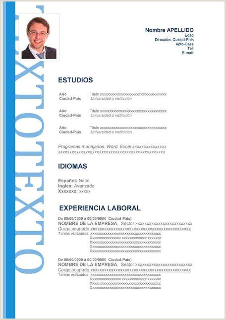 Formato Unico De Hoja De Vida Azul Ejemplos De Hoja De Vida Modernos En Word Para Descargar