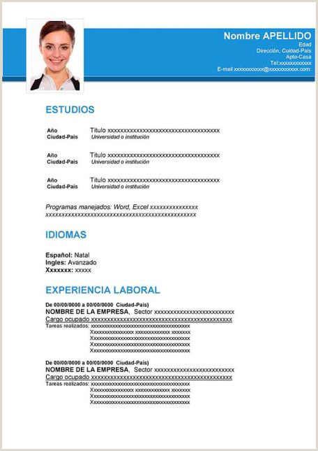 Formato Unico De Hoja De Vida Editable En Blanco Ejemplos De Hoja De Vida Modernos En Word Para Descargar