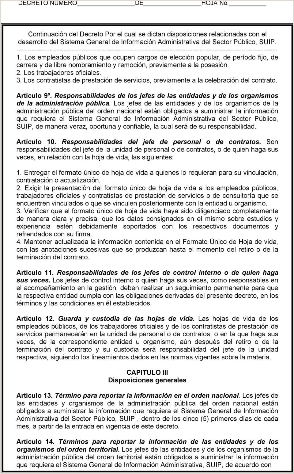 """Formato Unico De Hoja De Vida Gestion Publica Departamento Administrativo De La Funci""""n Pšblica Decreto"""