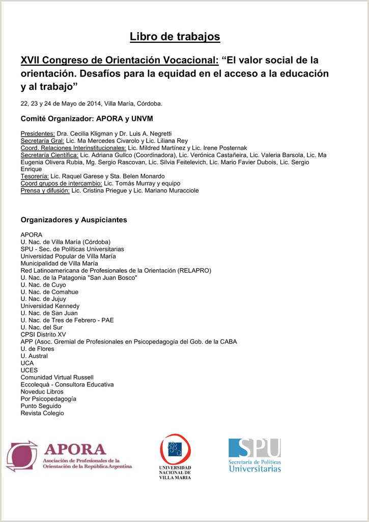 Libro de Ponencias XVII Congreso de Orientaci³n Vocacional