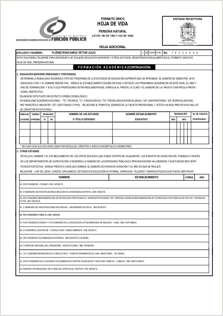 Formato Unico De Hoja De Vida Minerva 10-03 Hoja De Vida Vctor Fl³rez
