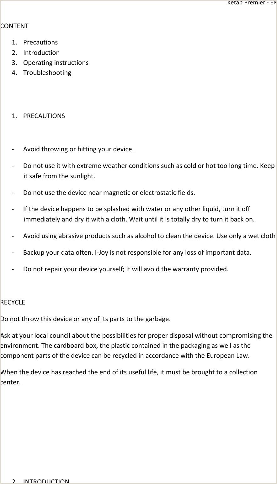 I Joy Ketab Premier Operating Instructions