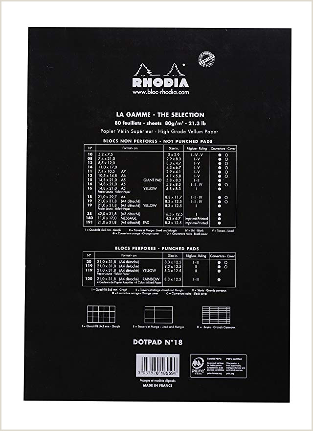Rhodia C DotPad Bloc DIN A4 hojas con red de puntos 21 x 29 7 cm 80 hojas color negro