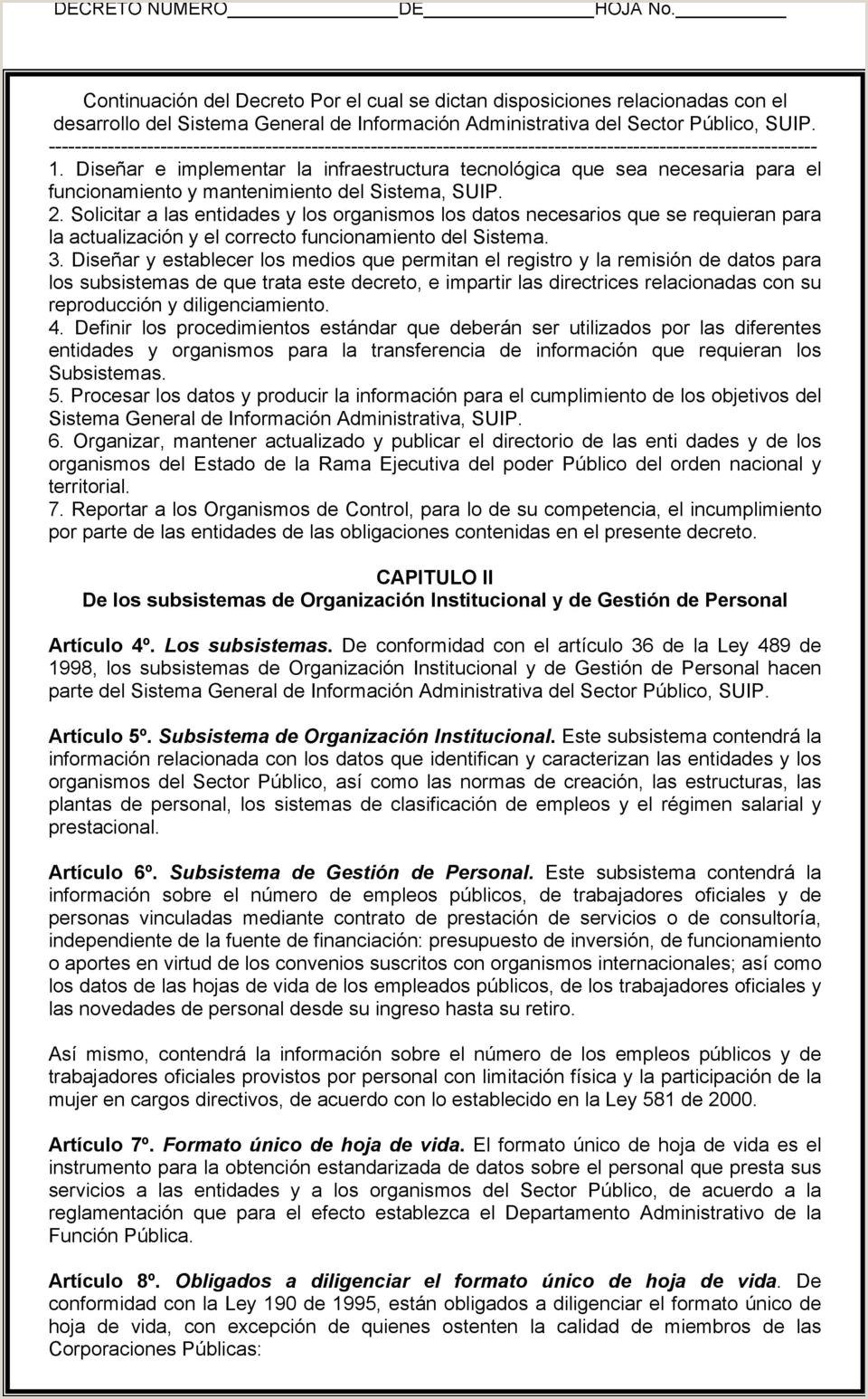 """Formato Unico De Hoja De Vida Universidad Del Quindio Departamento Administrativo De La Funci""""n Pšblica Decreto"""