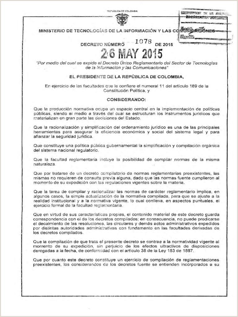 Decreto MinTIC 1078 2015 Reglamentaci³n Del Sector de TICs
