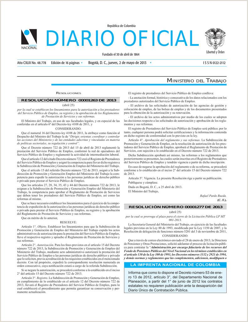Diario icial Anuncio del proyecto