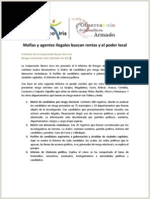 Formato Unico Hoja De Vida Fiduprevisora Segundo Informe Elecciones 2011