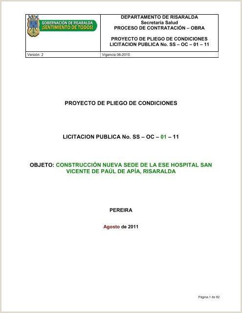 PROYECTO DE PLIEGO DE CONDICIONES LICITACION PUBLICA