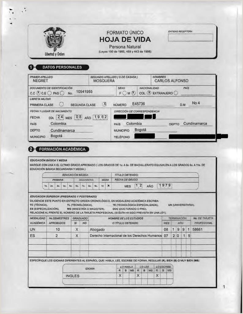 Formato Unico Hoja De Vida Ministerio De Educacion Nacional Hoja De Vida De Carlos Alfonso Negret