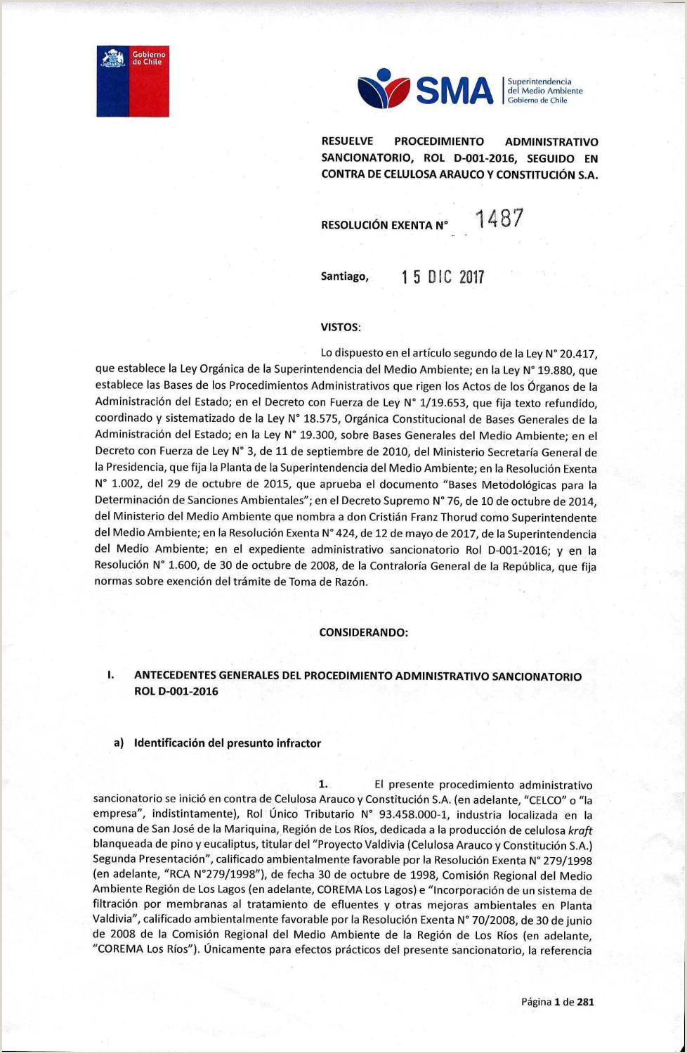 Formato Unico Hoja De Vida Persona Juridica Editable Resoluci³n Sancionatoria Contaminaci³n Arauco by Rio Enlinea