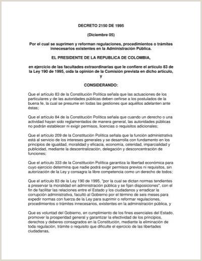 Formato Unico Hoja De Vida Persona Juridica Funcion Publica Decreto 2150 De 1995 Diciembre 05 Por El Cual Se Suprimen