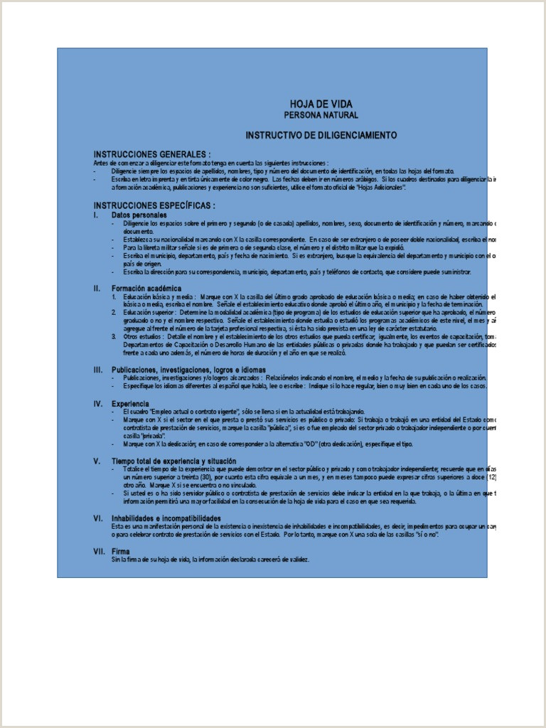 Formato Unico Hoja De Vida Persona Natural Ley 190 formato Hoja De Vida Educaci³n Secundaria