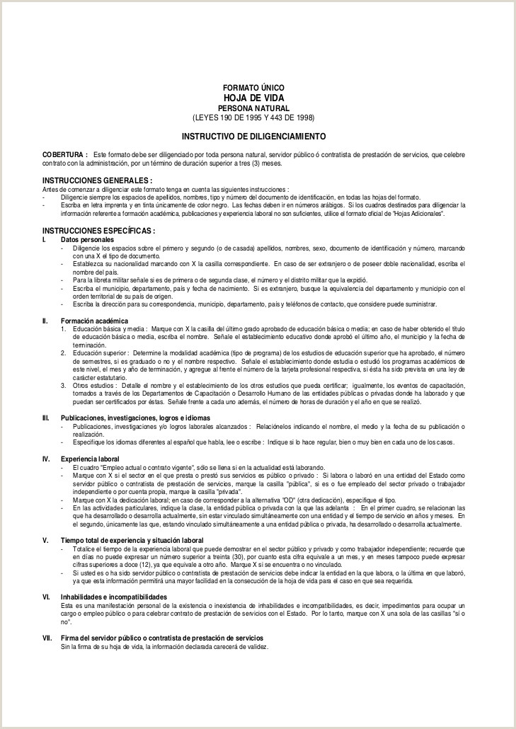 Formato Unico Hoja De Vida Persona Natural Ley 190 Hoja De Vida Vctor Fl³rez
