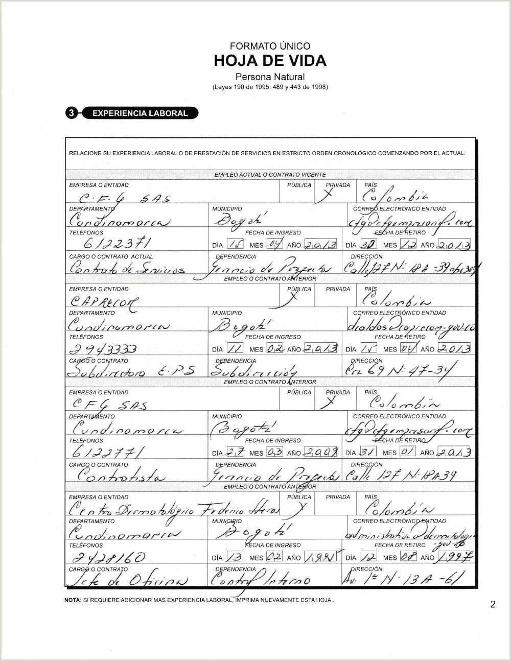 Formato Unico Hoja De Vida Republica De Colombia Documentos Funci³n Pºblica