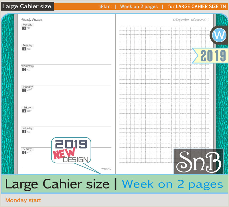 SnB Cahier iPlan Week on 2 pages 2019 Printable Weekly inserts for Traveler s Notebooks