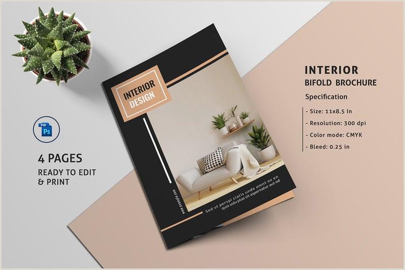 Interior Design Brochure Template Square Bifold Brochure shop Template