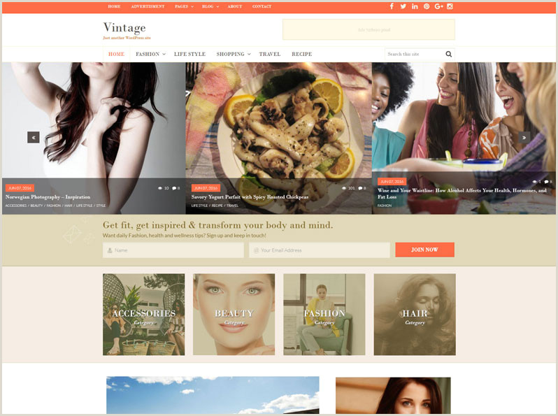 Free Premium WordPress Theme Vintage