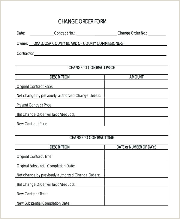 Free Construction Change order Template Excel Stock order form Template