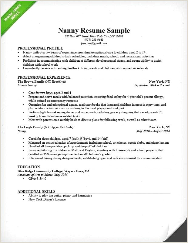 Examples Nanny Resumes Awesome Resume Template Samples