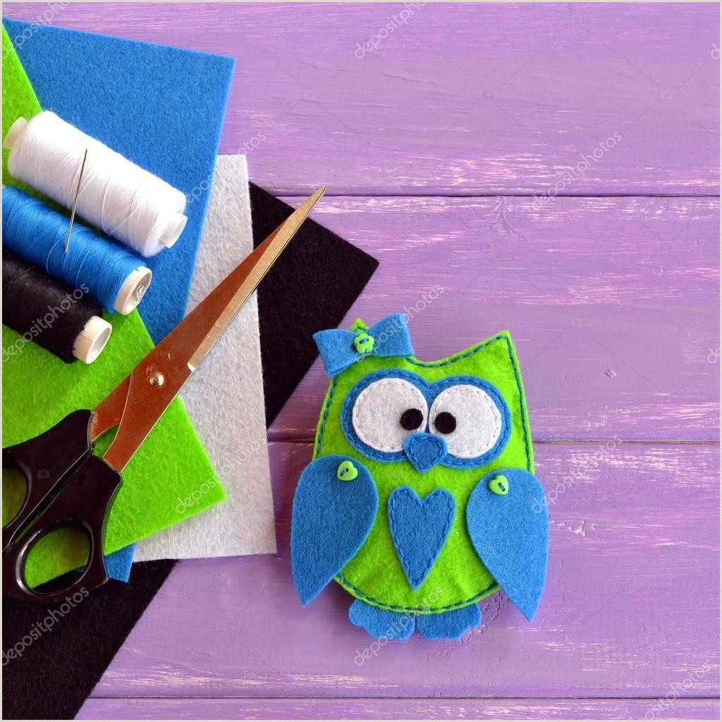 Free Felt Bird Pattern Cute Felt Owl ornament Owl is Sewn From Green and Blue Felt