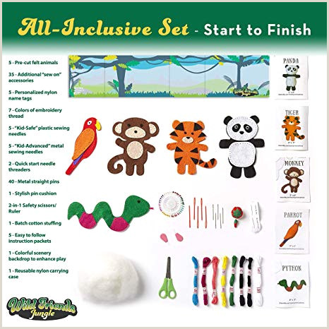 Free Felt Bird Pattern Four Seasons Crafting Kids Sewing Kit and Animal Crafts Fun Diy Kid Craft and Sew Kits for Girls and Boys 120 Piece Set