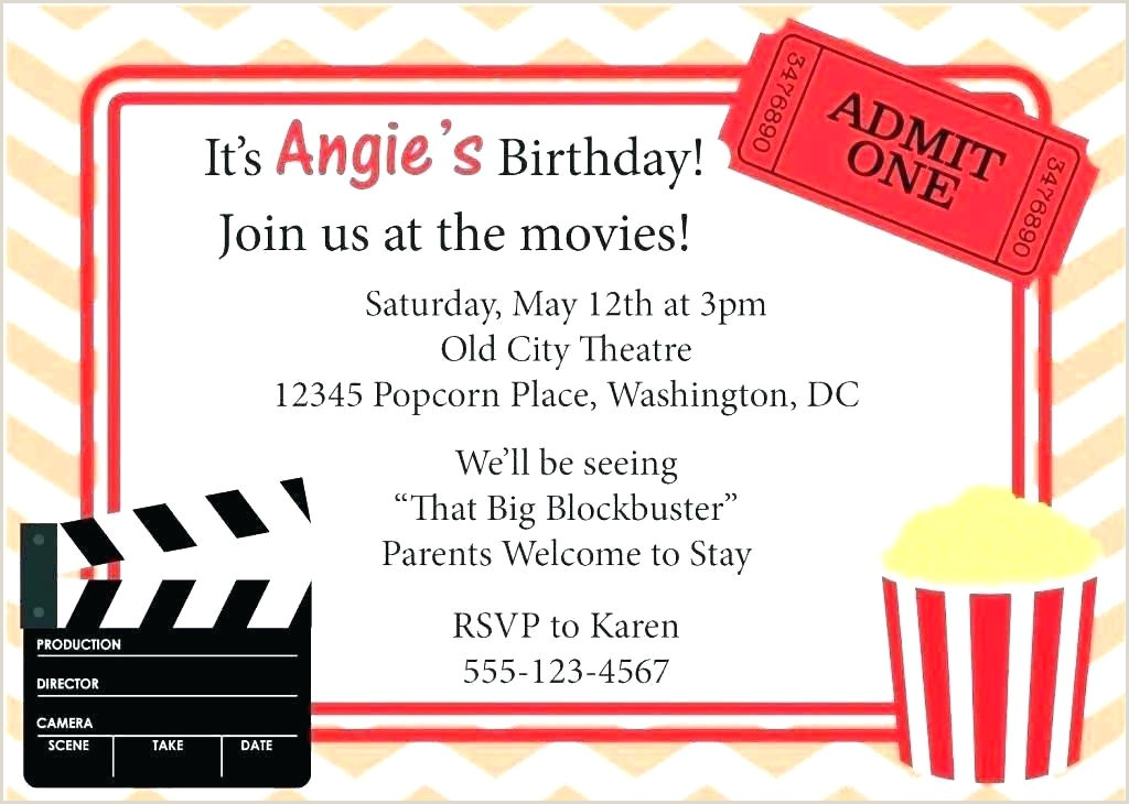 Free Movie Party Invitations Theater Invitation Template