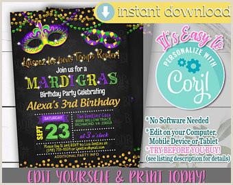 Free Mardi Gras Invitation Templates Mardi Gras Invite