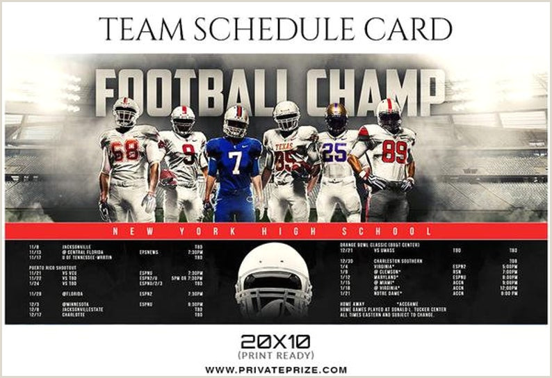 Football Champ Team Sports Schedule Card shop Templates