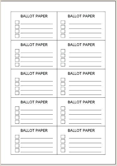Free Printable Ballot Templates Free Voting form Template