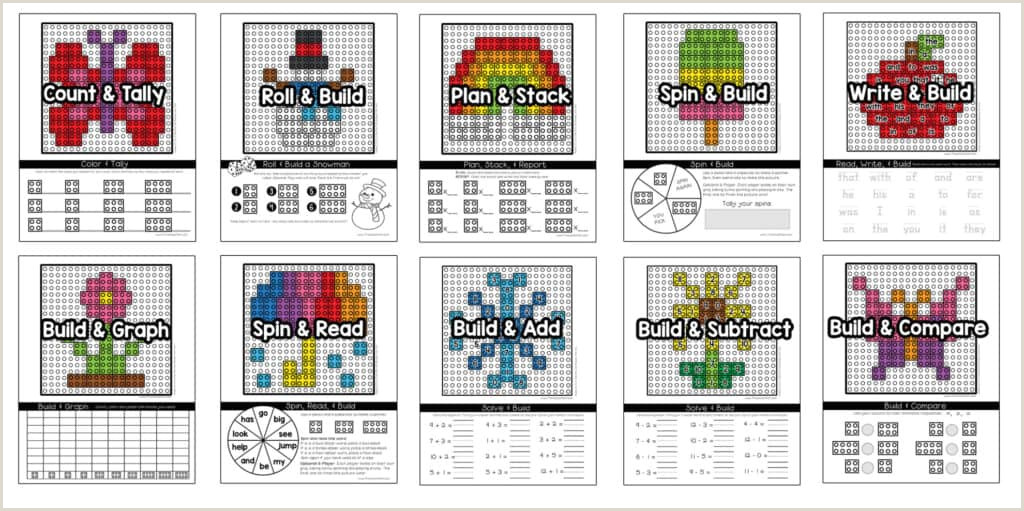 Free Printable Brick Paper Learning with Lego Mats Preschool Mom